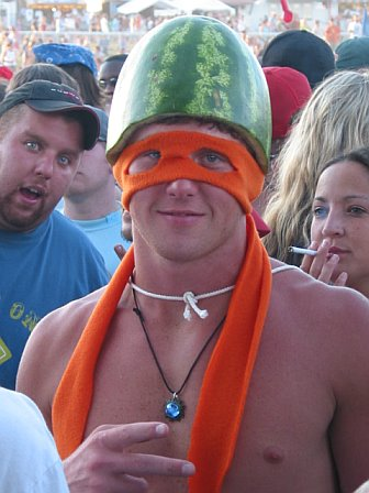 Watermelon Hat at 10K Lakes 2006