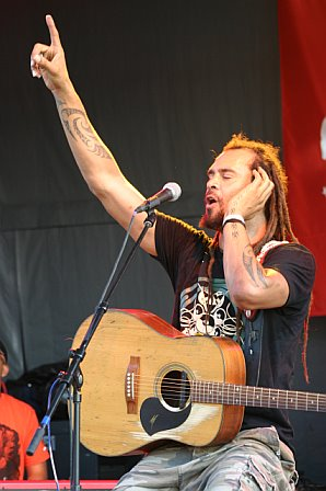 Michael Franti Sings on the Ropeadope Stage